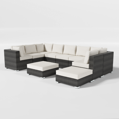 Calla Lilly Patio Sectional with 2 Ottomans